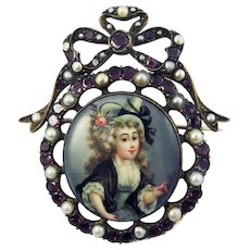 EXQUISITE Georgian Enamel on Copper of a Lady of Fashion Set in Garnet/Pearl Bow-Motif Brooch, c.1775!