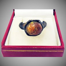 MARVELOUS & RARE Unisex Medieval Baltic Amber/Gilt Bronze Ring, c.1400!
