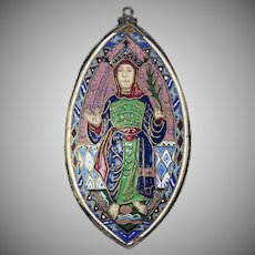 HEAVENLY XL French Double-Sided Champleve Enamel/Sterling Silver Plaque of the Virgin Mary w/Jesus on Reverse, c.1825!