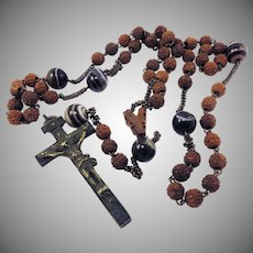 BEAUTIFUL French Victorian Carved Olivewood/Banded Agate Rosary, c.1850!