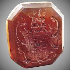 MASTERPIECE George II Carnelian Armorial Intaglio/Solid 18k Fob Seal, 10.15 Grams, c.1745!