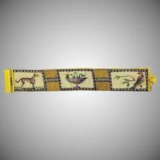 SO CHARMING Sentimental Regency Needlework Silk/Gold Mesh/Pinchbeck Bracelet, c.1810!