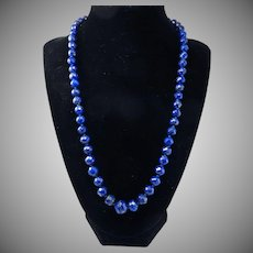 "BEST EVER 20"" Edwardian Faceted & Graduated Lapis Lazuli Necklace w/ .56 Ct. Sapphire 14k Clasp, c.1905/1950!"