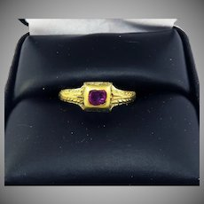 HIGHLY RARE Elizabethan Ruby/23k/Enamel Ring, c.1590!