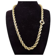 """PRISTINE Hand-Wrought 19 1/2"""" Victorian 15k Rope Necklace, 32.44 Grams, c.1870!"""
