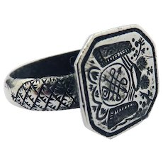 BAROQUE ROMANCE: Silver Armorial Seal Ring w/Crown, Shields, & True Lover's Knot, 9.76 Grams, c.1680!