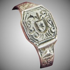 DELIGHTFUL Unisex Russian Silver Armorial Signet Ring, c.1705!