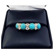 MARVELOUS Victorian Robin's Egg Blue Turquoise & .6 Ct. TW OMC Diamond/18k Ring, c.1880!