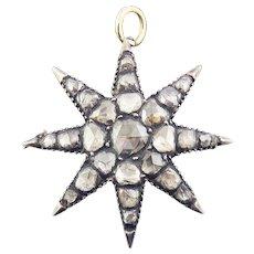 HEAVENLY 1.34 Ct. TW Georgian Rose Cut Diamond/Sterling/14k Starburst Pendant/Brooch, c.1790/1920!
