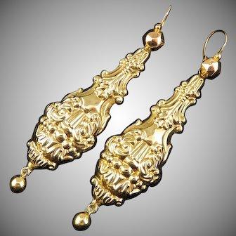 "SO LOVELY 2 1/2"" Late Georgian 15k Repousse Amphora & Lyre-Motif Drop Earrings, c.1835!"