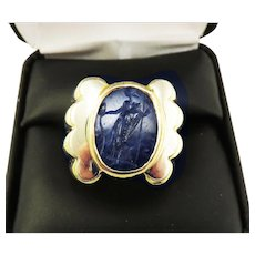 MUSEUM-WORTHY Ancient Roman 3.78 Ct. Sapphire Intaglio of Fortuna Set in Modern 18k Ring, 17.51 Grams, c.100 AD/1980!