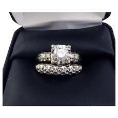 FINEST QUALITY Estate .67 Ct TW Diamond/14k Wedding Set w/$4,835.00 GIA Valuation, c.1960!