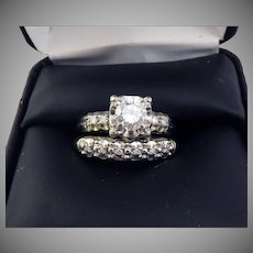 FINEST QUALITY Estate .67 Ct TW Diamond/14k Wedding Set w/$4,835.00 GIA Valuation, c.1960!