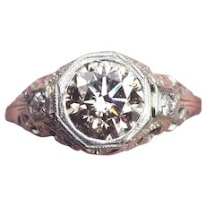 MAJESTIC 1.21 Ct. Natural Fancy Yellow-Peach OEC Diamond/18k Ring w/$11,385.00 GIA Valuation, c.1925!