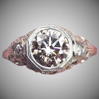 MAJESTIC 1.21 Ct. Natural Fancy Yellow-Peach OEC Diamond/18k Ring w/$11,385.00 GIA Valuation, c.1925!