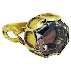 MASTERPIECE Unisex Late Medieval Rock Crystal/22k Ring, c.1490!
