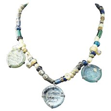 """SUPERB 15"""" Ancient Islamic Glass Bead Necklace w/3 Inscribed Glass Pendants, c.800 AD!"""