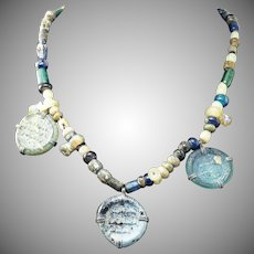 "SUPERB 15"" Ancient Islamic Glass Bead Necklace w/3 Inscribed Glass Pendants, c.800 AD!"