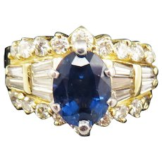 SPECTACULAR Estate 3.41 Ct. TW Ceylon Sapphire/Diamond/14k Dress Ring, 9.02 Grams, c.1965!