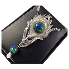 SUBLIMELY ORGANIC Hand-Wrought Sterling/Art Glass Peacock Feather-Motif Necklace, c.1900!