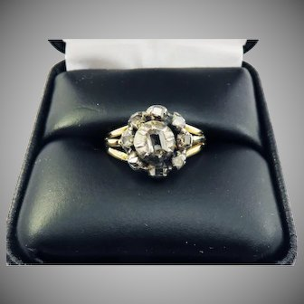 WOW! Stuart Table-Cut Diamonds Set in Georgian Silver Topped 14k Ring, c.1650/1800!