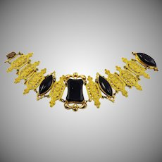 "DRAMATIC 7 1/2"" Georgian Gothic Revival French Jet/Pinchbeck Bracelet, c.1830!"