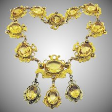 MUSEUM-WORTHY Late Georgian Pinchbeck/Bath Metal & Citrine Paste Girandole Necklace, c.1825!