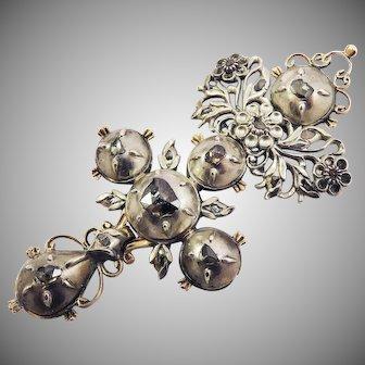 "HEAVENLY 2 1/2"" Georgian Diamond/Sterling/14k Four-Segment Cross Pendant, c.1790!"