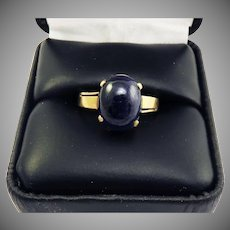FABULOUS Hand-Wrought 5.32 Ct. Natural Sapphire Cabochon Solitaire/18k Rose Gold Ring, c.1900!