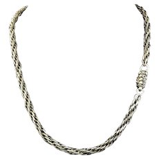 "PRISTINE 16"" Georgian Sterling Silver Woven/Canetille Necklace, 16.35 Grams, c.1820!"