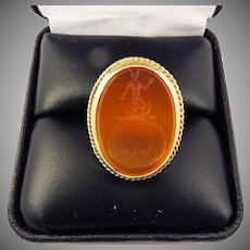 EXQUISITE Georgian Carnelian Armorial Intaglio Set in 18k Edwardian Ring, Hercules & Hydra, c.1780/1910!