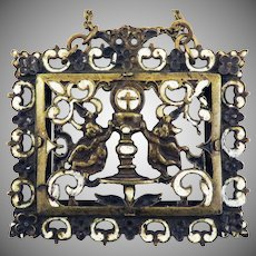 SPANISH RENAISSANCE Champleve Enamel/Bronze Venera Necklace w/Reference, c.1600!