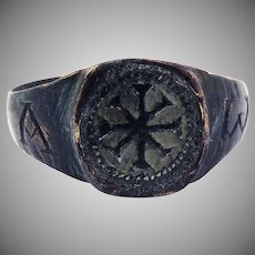 "REMARKABLE Early Byzantine Bronze/Silver Chi Rho Ring Inscribed ""Alpha Omega,"" c.900 AD!"