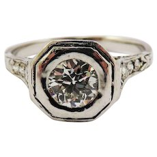 BEST OF THE BEST Art Deco .82 Ct TW. OEC Diamond Solitaire/Platinum Ring w/$6,750.00 GIA Report, c.1925!