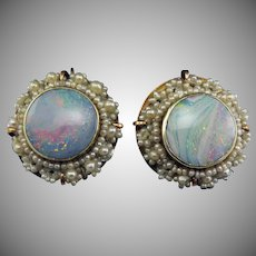 OPAL DREAMS: Stunning Victorian 5.42 Ct. TW Opal/Seed Pearl/15k Earrings, c.1855!