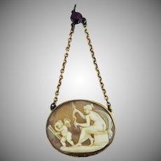 SO CHARMING Regency Neoclassical Cameo/Garnet/15k Pendant, Venus and Eros, c.1805!