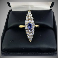 AMAZING 1.15 Ct. TW Color-Changing Iolite/Table-Cut, Point-Cut, Rose-Cut and OMC Diamond/14k Ring, c.1890!