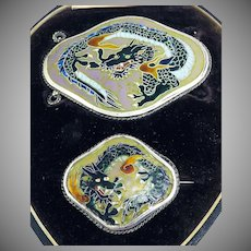 HERE BE DRAGONS! Mint Condition Japanese Cloisonne Enamel/Sterling Silver Belt Buckle & Brooch in Original Fitted Box, c.1875!