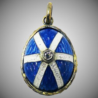 EXQUISITE Late Victorian Guilloche Enamel/Silver Gilt/Diamond Egg-Motif Pendant, c.1900!
