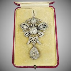 REGAL BARGAIN: XL Georgian Paste & Sterling Sevigne Bow Stomacher Pendant/Brooch in Fitted Box, c.1770!