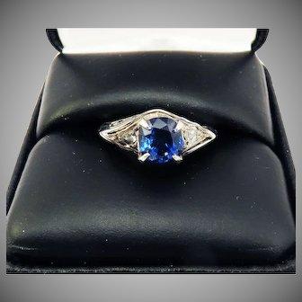EXCEPTIONAL Oval Mixed Cut 2.22 Ct. TW Unheated Ceylon Sapphire/Diamond/Platinum/14k Ring w/$6,000.00 GIA Valuation, c.1880/1920!