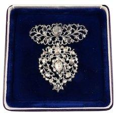 FABULOUS 3.68 Ct. TW Rose-Cut & Lasque-Cut Diamond/Sterling Flemish Heart Slide Pendant, c.1810!