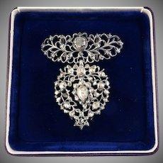 FABULOUS 2+ Ct. TW Rose-Cut & Lasque-Cut Diamond/Sterling Flemish Heart Slide Pendant, c.1810!