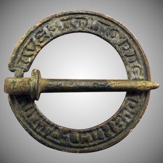 "MEDIEVAL English Bronze Posy Annular Brooch, ""Ave Maria in Gratia Plena,"" c.1300 AD!"