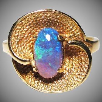 BEAUTIFUL Estate Natural SOLID 1.29 Ct. Black Opal/10k Ring, c.1955!