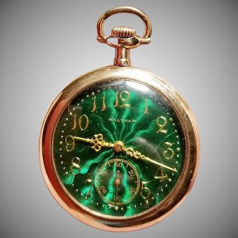 WOW!  RAREST Waltham Green Guilloche Dial 17 Jewel Pocket Watch, Runs Perfectly, c.1904!