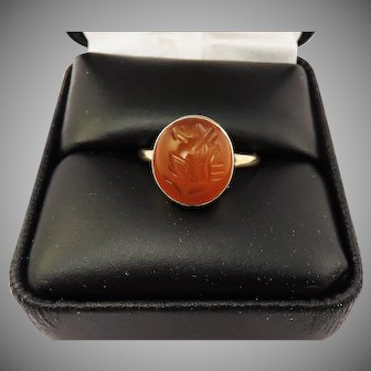 GRAND  Ancient Sasanian Intaglio of an Ibex, c.500, set in 9ct Victorian Ring, c.1890!!
