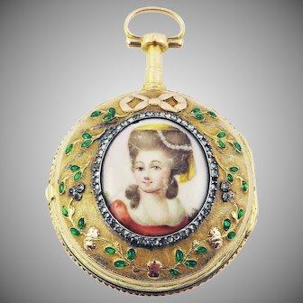 MUSEUM QUALITY French Diamond/Enamel/20k Portrait Verge Watch by H. Laresche Sr., c.1770!