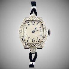 JUST STUNNING Lady Elgin 22 Diamond/14k Wristwatch w/Exploding Numerals, Runs Great, c.1918!