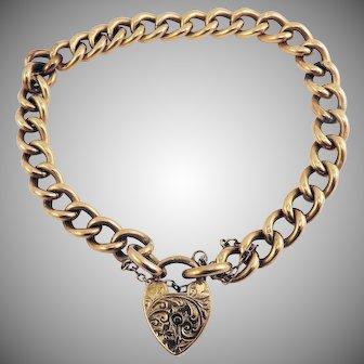 PRISTINE Edwardian 9kt Rose Gold Charm Bracelet w/Ornate Heart Padlock, 12.21 Grams, c.1903!